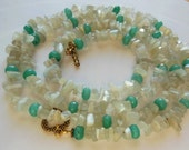 Moon stone with Jade necklace 604