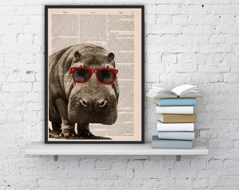 Summer Sale Cool Hippo with Sunglasses  Home decor THEE HIPPO Animal art printed on Vintage Book sheet  Nursery wall art ANI013