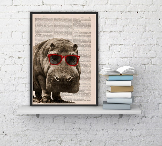 Cool Hippo with Sunglasses  Home decor HIP-PO Animal art printed on Vintage Book sheet - Nursery wall art ANI013