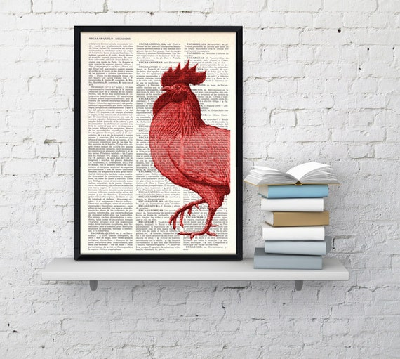 Spring Sale Red cock  Book print  dictionary Print on Vintage Dictionary Book pagecollage  illustration upcycled art BPAN128