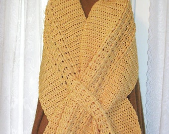 Crochet Shawl - Oversized Scarf - Keyhole Scarf in Misted Yellow - Slit Shoulder Wrap - Chunky Scarf