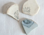Sea Pottery, Blue Clay, Romona, Royal and NAAFI Makers Marks, Foliage,Jewelry Supplies, Crafts, Wire Wrap