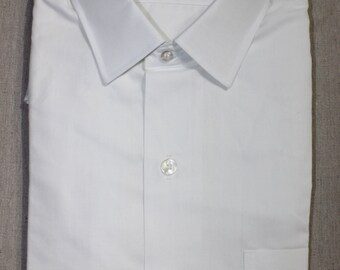 vintage 1960's -Penneys 'Towncraft PE'- Men's long sleeve shirt. 'New Old Stock'. Pure White - Small collar. Medium - 15 1/2 x 32