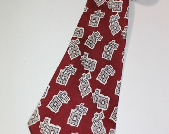 vintage 1940's -McCurrach-  Men's Neck tie...Hand printed 'Golden Shuttle' fabric.