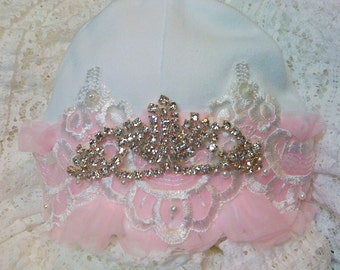 Newborn Girls Princess Baby Hospital Hat Beanie Accessories Take me home Hats & Bonnets