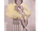 Shirley Temple in a nice dress Picturegoer Series 20th century Fox star child star actress Vintage old unused postcard cute 1930's