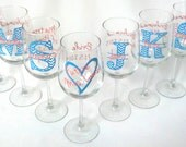 Chevron monogram wine glasses.  Future mrs glass, bridesmaid glass, Wine glass with chevron monogram and name. Title and date on the back