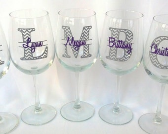 6 bridesmaids wine glasses, Chevron monogram glass, monogram and name.  Maid of honor gift, wedding party gift, custom gift idea for wedding