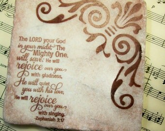 Antiqued Religious Gift Coasters Travertine Scripture Zephaniah 3: 17 Coasters in Espresso Set of 4