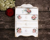 OOAK Tinkerbell and roses rusticl style  wooden Mini chest drawers, Vintage look decoupage, shabby chic ,white ,pink,blue,yellow