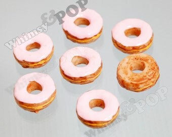 Kawaii Pink Icing Doughnut Donut Decoden Resin Flatback Cabochons, Flat Back Embellishment, Donut Cabochons, 21mm (R5-246)