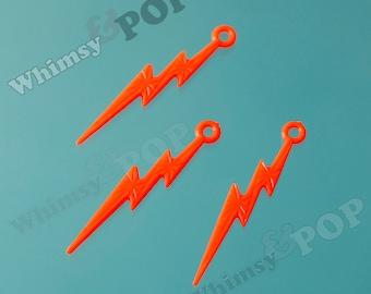 Orange Acrylic Lightning Bolt Charms, Lightning Charm Pendant, 45mm x 9mm (C2-08)