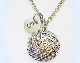 Personalized Volleyball Necklace Initial or Number Charm