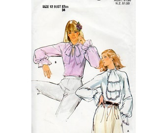 HALF PRICE 1970s Jabot Blouse Pattern Goth New Romantic Butterick 5673 Vintage Sewing Pattern Bust 34 FF Unused Tie Collar Shirt