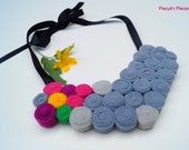 Felt Bib Necklace - Grey Pink Purple Yellow Green Felt Necklace OOAK - Eco-friendly