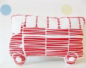 Handprinted Pillow 'Autobus' Organic Cotton Red/White