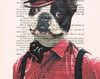 Cool Steampunk Bulldog: Art Poster Digital Art Original Illustration Giclee Print Wall art Wall Hanging Wall Decor Animal Painting