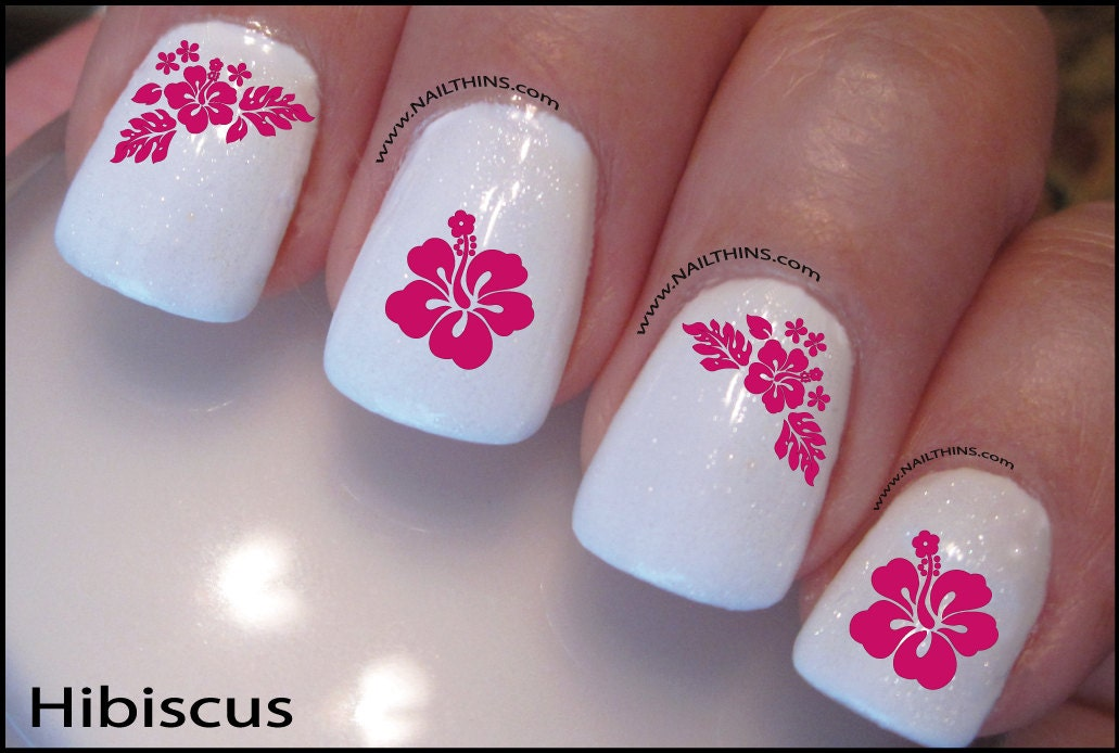 Hibiscus Nail Decal Pink Hawaiian Flower Nail Art Plumeria - Hibiscus Nail Decal Pink Hawaiian Flower Nail Art Plumeria From