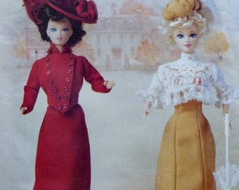 Butterick 6374 UNCUT Sewing Pattern Fashion Doll Clothing Wardrobe - Delineator Girls 1900 Jacket Skirt Hat Dress Blouse