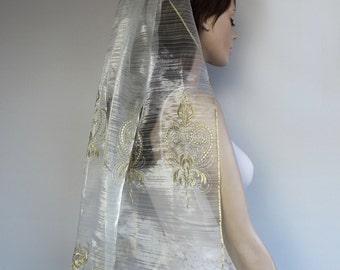 Hips Length Veil, Gold Embroidered Fine Tulle Blusher: Unconventional. Handmade. Unique Design