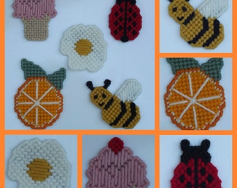 Small magnets, Orange, Icecream cone, ladybug or egg made from plastic canvas and yarn each sold separately
