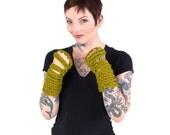 green winter gloves, wrist warmers, winter gloves, knit gloves, fingerless gloves, Gauntlet Wrist Warmers