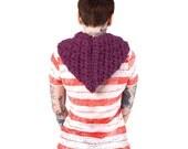Hooded scarf, Crochet hat, purple hat, hood, crochet hood, The Burlington Hood, Crocheted hooded cowl, Chunky hood, Knit hood in FIG
