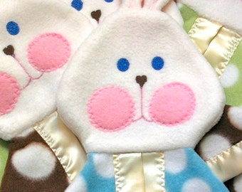 Blue polka dot FooFoo Bunny in blue polka dot fisher price puppet bunny replica
