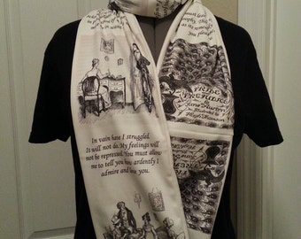 Pride and Prejudice infinity KNIT scarf - made to order