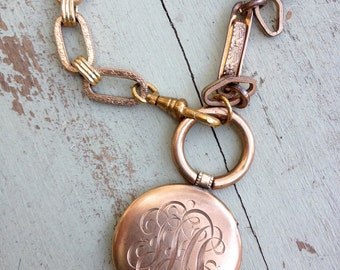 Victorian Altered Assembled Locket and Chain Necklace
