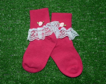 Hot Pink -  Lace Socks with Rose for Little Girls - Size 5-6 1/2 (Toddler) - US Shoe Size 3-7
