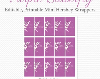 Purple Butterfly Mini Candy Wrappers, Bridal Shower Favors, Party Favors, Wedding Favor, Candy Bar, Candy Wrapper -- Editable Printable