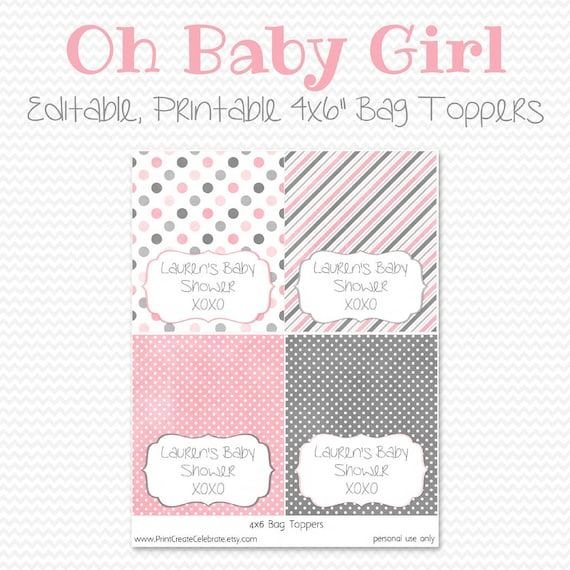 baby shower favors treat bag toppers pink and grey baby girl shower