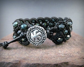 Boho Chic Cuff Bracelet, Rustic Black Beads, Bohemian Crochet Jewelry