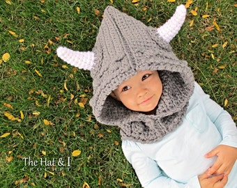 CROCHET PATTERN - Viking Style - chunky crochet hooded cowl pattern Viking hood pattern (Toddler, Child, Adult sizes) - Instant PDF Download