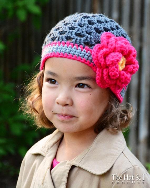 CROCHET PATTERN - Flowerific! - crochet hat pattern for girls w/ flower crochet beanie pattern (Infant - Adult sizes) - Instant PDF Download