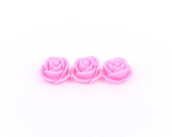 10 Rose Flower Cabochons, flatback, MEDIUM PINK, 19mm  cab0157