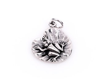 FROG on LILYPAD Sterling Silver Charm Pendant,  pms0075