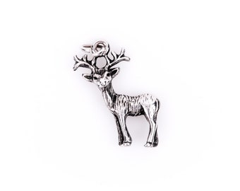 3D REINDEER Sterling Silver Charm Pendant,  pms0078