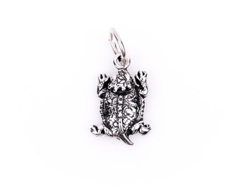 HORNED TOAD Horn Frog Sterling Silver Charm Pendant,  pms0080