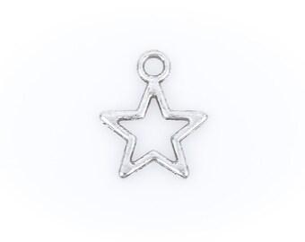 25 Antique Silver OPEN STAR Charm Pendants  chs1386