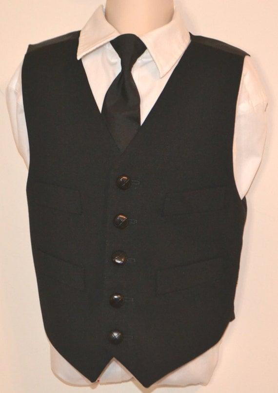 boys vest necktie black wool vest 100 by amytopstitching
