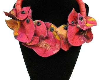 Large Petals, felted silk necklace in cranberry red, gold, fiery cinnamon, fuchsia and butterscotch