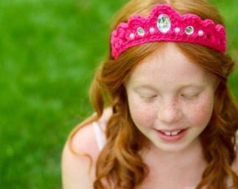 Princess Party Crown Dress up Tiara Headband Crocheted Crown Gems and Pearls - Soft Elastic Back - Little Girl Party Favor- Birthday Gift