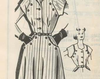 1950s Women's Dart Fitted Button Front Dress Pattern Sew Rite 8168 Mail Order Pattern Grit Magazine Plus Size Bust 46