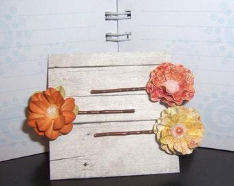 Bobby Pins Hair Pins Three shades of Rust Gold Paper Flower Bobby Pins