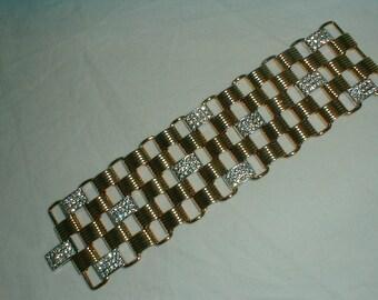 nolan miller pave crystal bracelet two tone bracelet mesh bracelet crystal bracelet gold bracelet sparkling bracelet  wide bracelet statemen