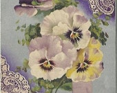 Pansies for Thoughts Purple Pansy Posy or Nosegay 1909 by BB London Spring Lace Doily Vintage Postcard