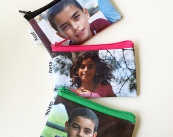 Custom Photo wallet gift idea , personalized coin purse with photo of your kids your baby yourself, Perfect stocking stuffer
