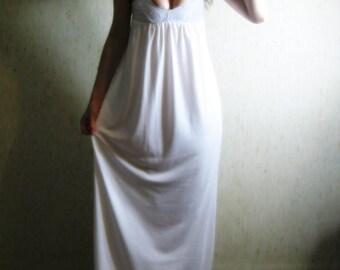 20% OFF VALENTINE'S SALE - i'm yours - organic cotton bamboo white boho chic hippie wedding lace bralette maxi dress sundress xs